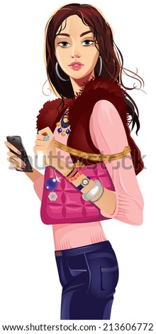 fashionable girl in a waistcoat with pink bag - stock vector