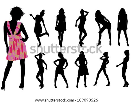 Fashionable girls on white background - stock vector
