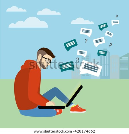 Fashionable guy sitting with laptop on the background of the city, Internet communication,vector illustration - stock vector