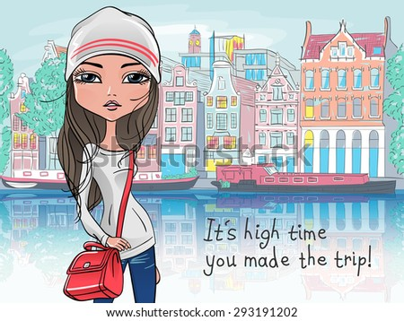 Fashionable hipster girl tourist in a leather jacket, jeans and red boots walking down the street in Amsterdam with traditional Dutch house - stock vector