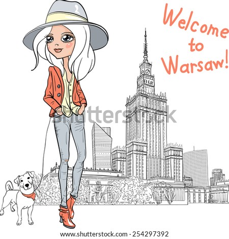 Fashionable hipster girl tourist in boots and hat with cute dog in Warsaw - stock vector