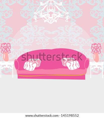 Fashionable interior of living room - stock vector
