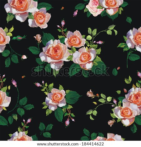 Fashionable modern wallpaper or textile with of collection red roses isolated on black design background, vector illustration - stock vector