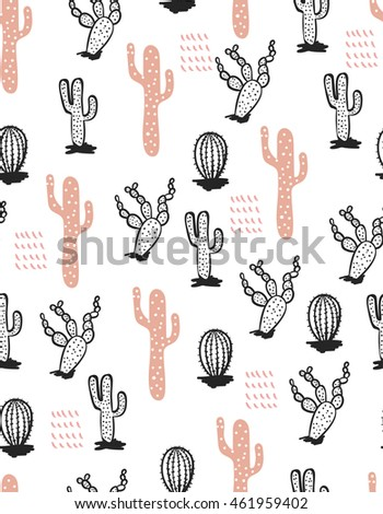 Fashionable print. Seamless pattern with cactus . Black and Pink . Vector