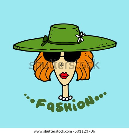 Fashionable stylish cartoon model woman with ginger hair and with makeup shows a new collection of of branded expensive summer or spring clothes, including a straw hat, sunglasses and a pearl necklace