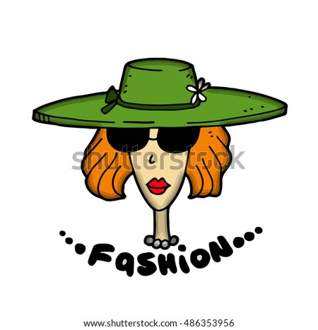 Fashionable stylish cartoon model woman with red hair and with makeup shows a new collection of of branded expensive summer or spring clothes, including a straw hat, sunglasses and a pearl necklace