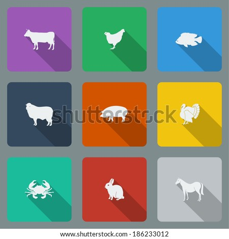 Fashionable varicolored flat icons with long shadows types of meat products. Nine animals on a bright background. Vector illustration. - stock vector