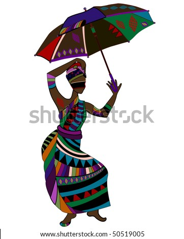 fashionable woman in ethnic style with an umbrella in his hand