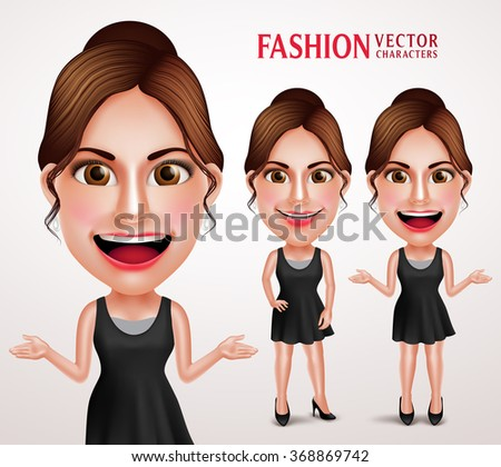 Fashionable Woman Vector Character Wearing Stylish Casual Dress, Good Hairstyle and Makeup for Lifestyle. Vector Illustration  - stock vector
