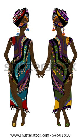 Fashionable women in ethnic style on a white background - stock vector