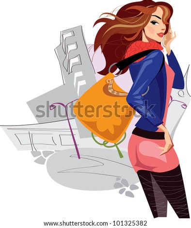 fashionable women with long hair - stock vector