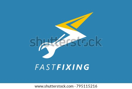 Fast and efficient repair of all home appliances logo. Machine servicing symbol. Electrical machine device fixing. Engine servicing sign. Safety alert tool handling.