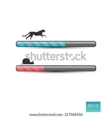 Fast and slow loading concept - stock vector