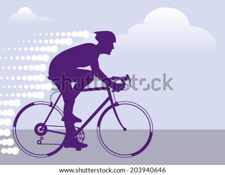 Fast Bicyclist vector - stock vector