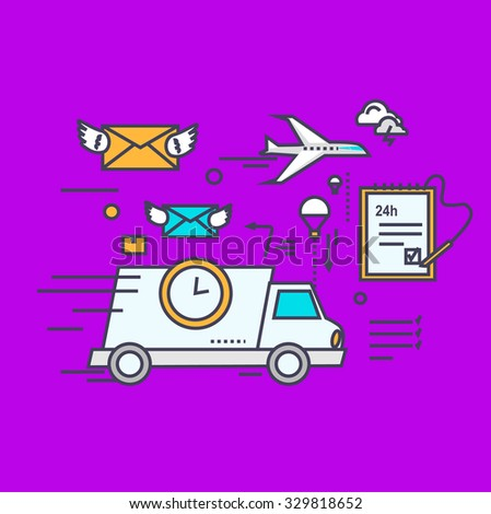Fast delivery concept icon flat design. Service business transportation, cargo and courier, transport and distribution, logistic mail, receive envelope, send and time illustration - stock vector
