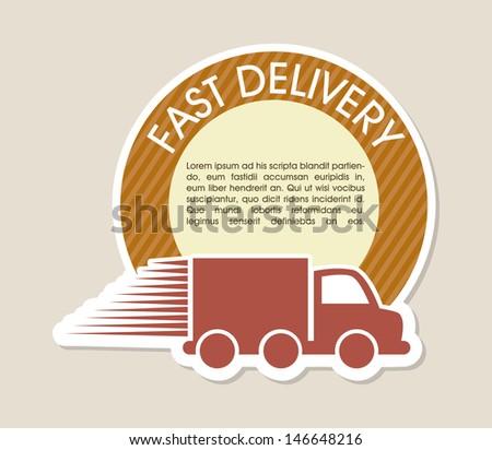 fast delivery design over beige background vector illustration - stock vector