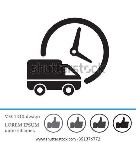 Fast delivery icon silhouette shipping truck isolated. vector illustration - stock vector