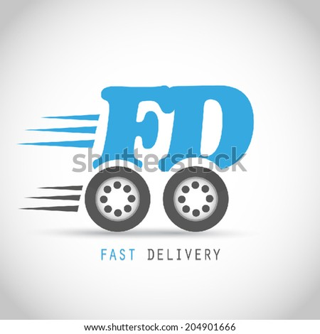 Fast delivery symbol on wheels - stock vector
