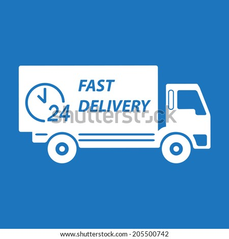 Fast delivery truck. White on blue background. Transportation icon or sign. Vector illustration.