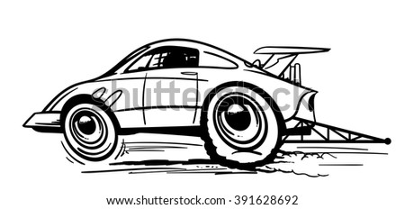 Fast dragster car. Hand drawn black and white vector illustration.