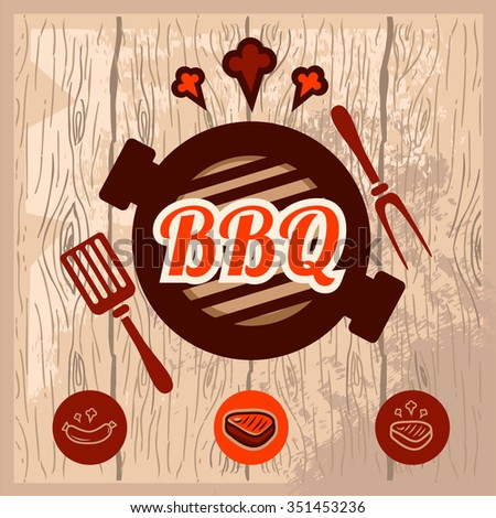 Fast food and BBQ Grill elements, Typographical Design Label or Sticer. Vector illustration. - stock vector