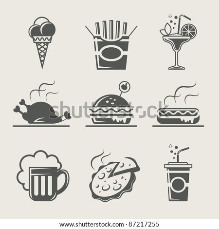 fast food and drink set of icon vector illustration - stock vector