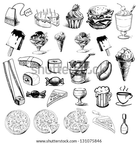Fast food and drinks collection. Hand drawing sketch vector illustration - stock vector
