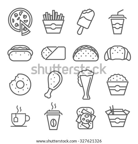 Fast food art line icons. Burger and hamburger, dinner snack, vector illustration - stock vector