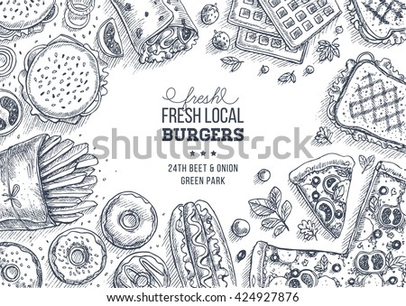 Fast food background. Linear graphic. Snack collection. Junk food. Engraved top view illustration. Vector illustration - stock vector
