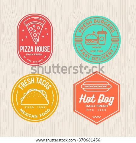 fast food  badges emblem logo banner with modern flat thin line design for pizza, hamburger, tacos and hot dog restaurant. - stock vector