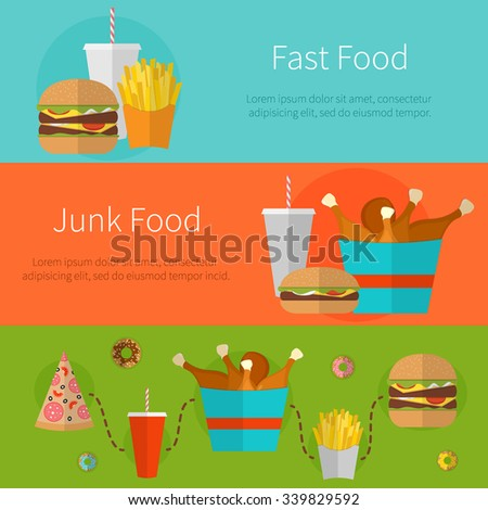 Fast food banner design concept. Flat icons of junk food. Illustration of unhealthy food, diet or restaurant menu elements. Hamburger, cheeseburger, fried chicken, french fries, pizza, donut. - stock vector