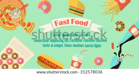 Fast food banner with ribbon, burger, donuts, pizza, french fies and soda made in flat style. Junk food flier. - stock vector