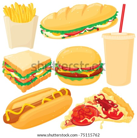 Fast food, big vector set. Without gradients, easy to handle. - stock vector