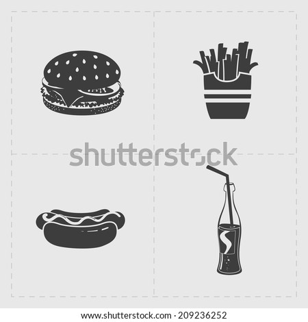 Fast Food Black Icon set on White - stock vector