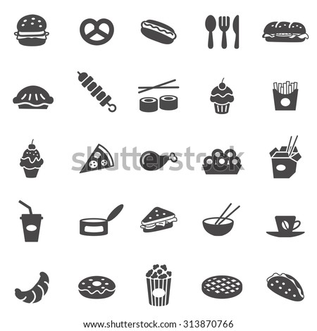 Fast food black icons set.Vector - stock vector