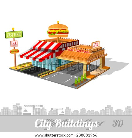 fast food building with hamburger on roof isolated on white - stock vector