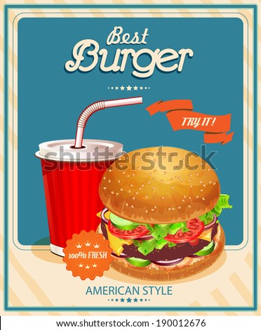 Fast Food. Burger and Cola. Vector illustration. Poster in vintage style. - stock vector