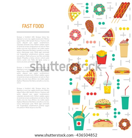 Fast food, burgers, sandwiches, tasty food. Meals fast food, drawn in a flat style. Fast food elements of street culture eating. Fast  food isolated. Flat fast food menu - stock vector