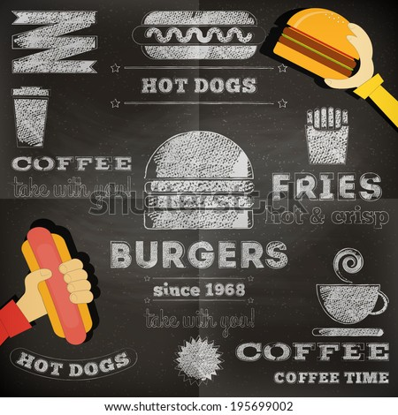 Fast Food Chalkboard Design. Menu Design. Vector Illustration. - stock vector