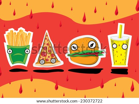 Fast Food collection set of flat icons design. Website, menu and app elements. EPS10 vector file organized in layers for easy editing. - stock vector