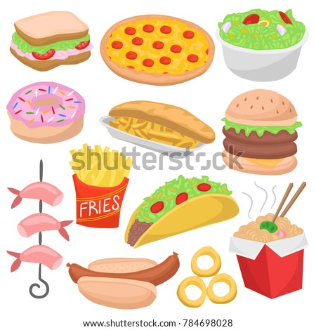 Fast Food Color Isolated Doodle Icons Stock Vector 784698028 ...