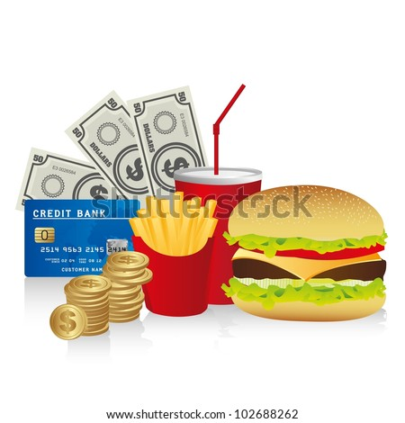 fast food combo with a burguer french fries, soda, coins, credit card and coins, vector illustration - stock vector
