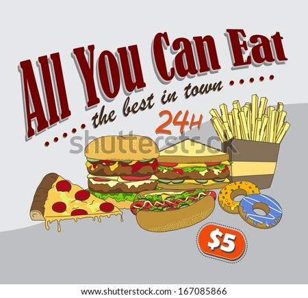 fast food commercial page art illustration