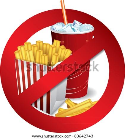 Fast food danger label - stock vector