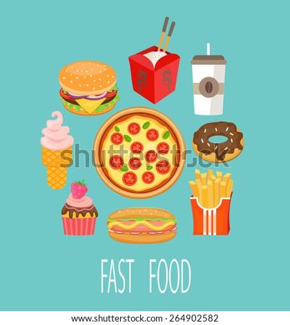 Fast food design. Vector illustration. - stock vector
