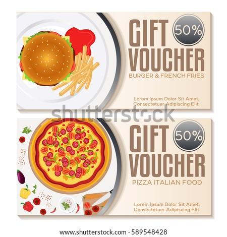 Fast Food Discount Voucher Template. Vector Illustration
