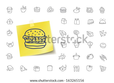 Fast Food Doodle Icons