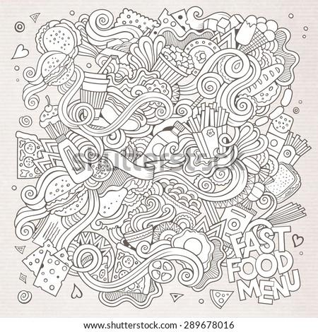 Fast food doodles elements background. Vector sketchy illustration - stock vector