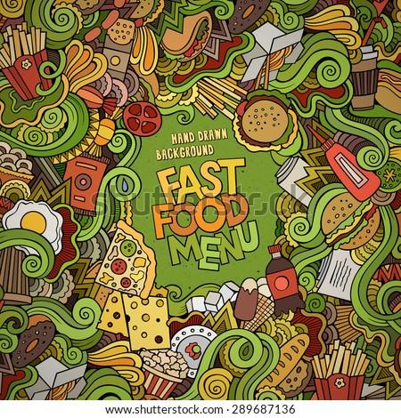 Fast food doodles elements frame background. Vector illustration - stock vector