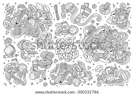 Fast food doodles hand drawn sketchy vector symbols and objects - stock vector